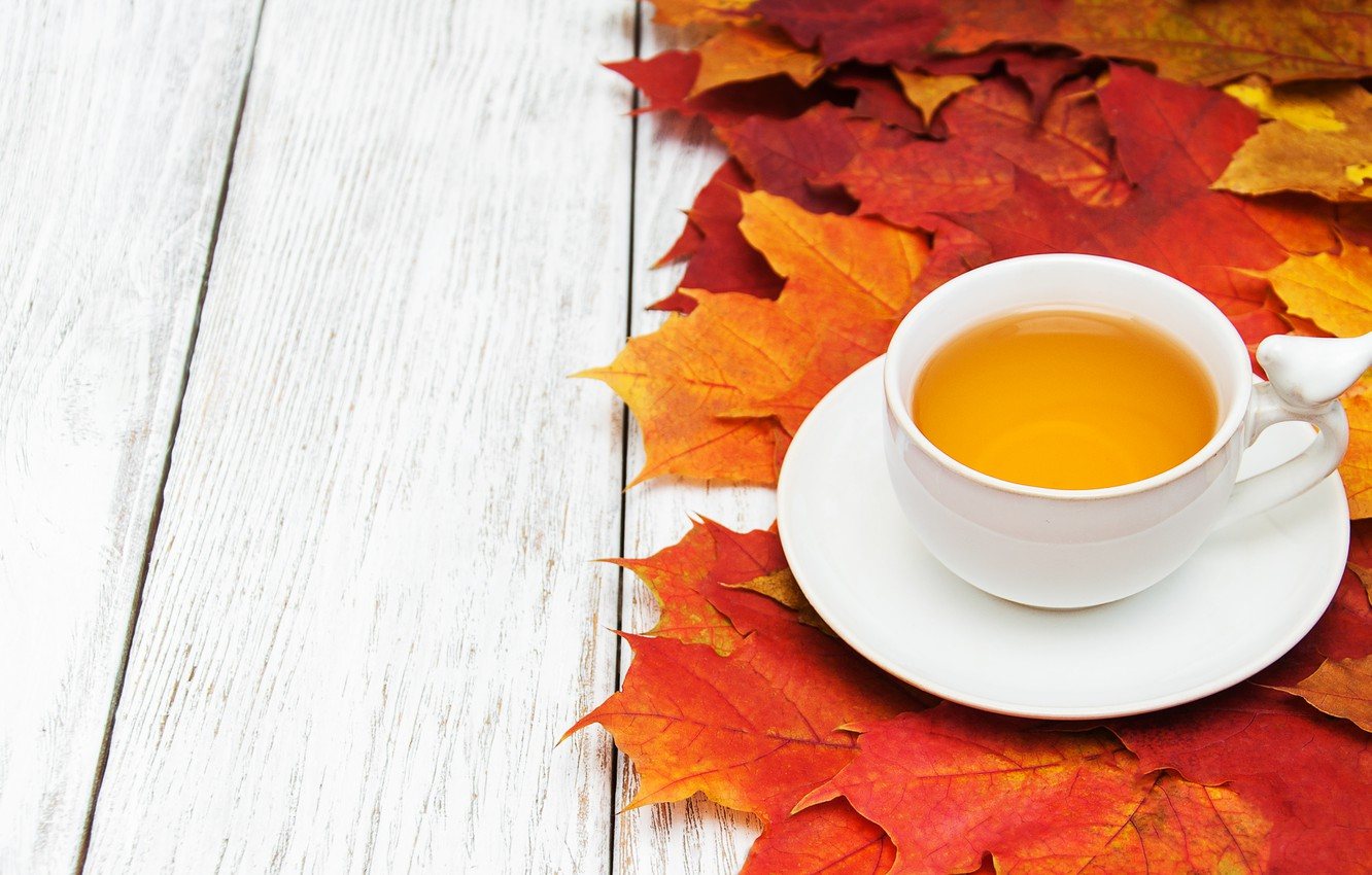 Photo wallpaper autumn, leaves, background, Board, colorful, maple, wood, autumn, leaves, cup, tea, maple, Cup of tea