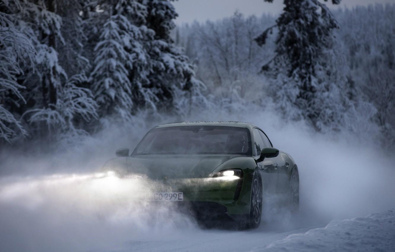 Photo wallpaper light, snow, movement, Porsche, green, 2020, Taycan, Taycan 4S