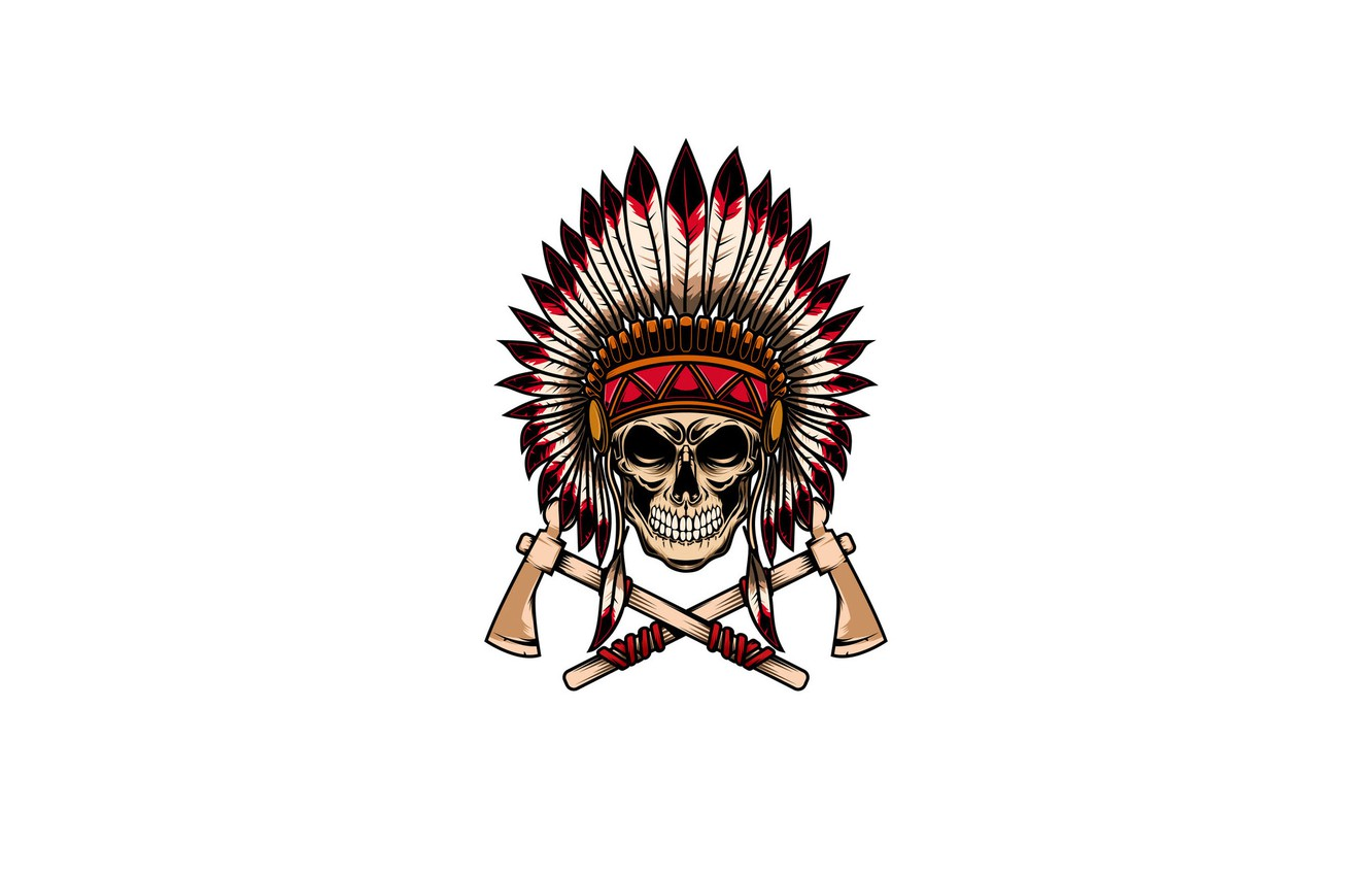 Photo wallpaper skull, feathers, Indian, томагавки