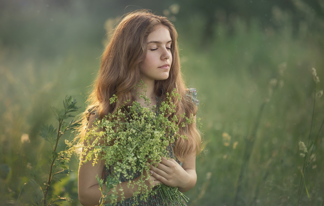 Photo wallpaper summer, girl, nature, girl, grass, a bunch, teen, Chudak Irena