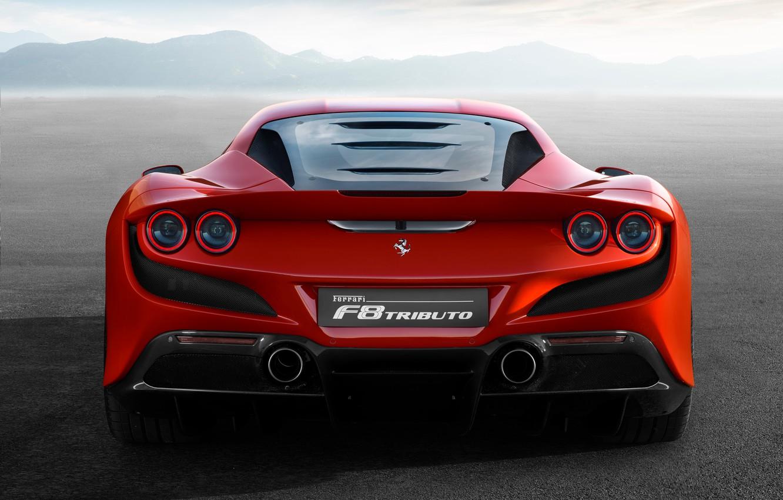 Photo wallpaper Ferrari, supercar, rear view, 2019, Tribute, Ferrari F8