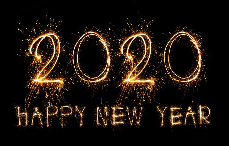 Wallpaper Lights Salute New Year Golden Black Background