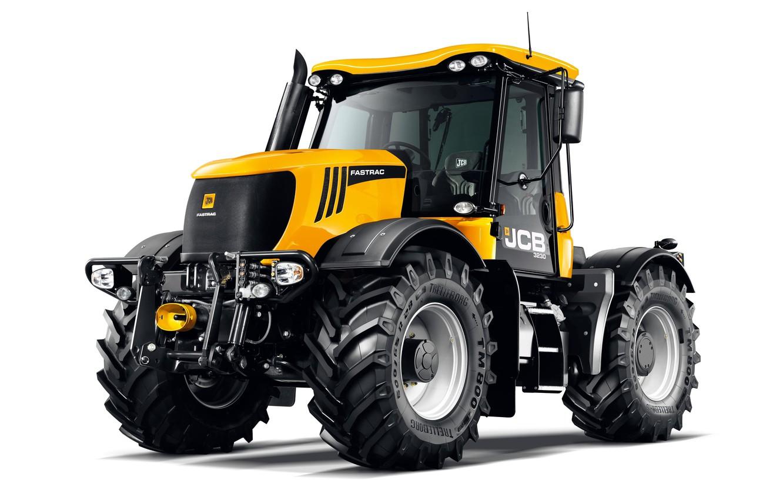 Photo wallpaper tractor, white background, JCB, Fastrac, 3230