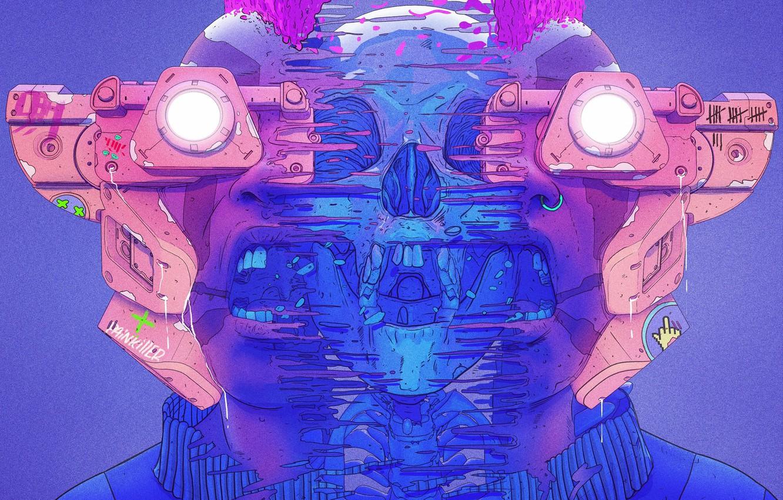 Photo wallpaper Color, Skull, Glasses, Style, Face, Helmet, Mask, Fantasy, Style, Color, Fiction, Fiction, Illustration, Sci-Fi, Cyberpunk, …