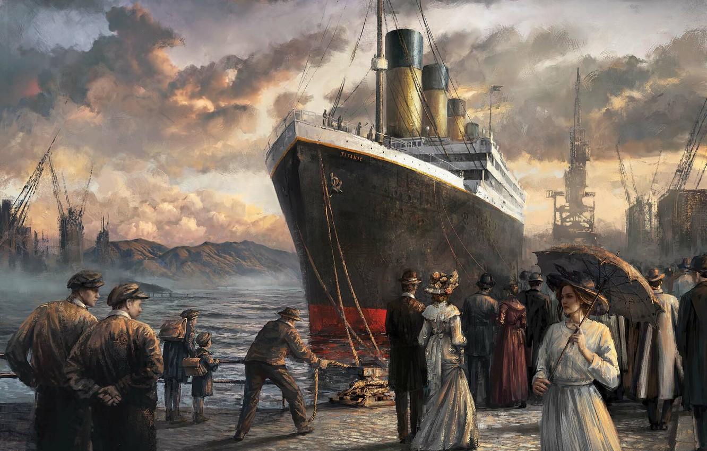 Photo wallpaper people, art, steamer, painting, titanic, Titanic