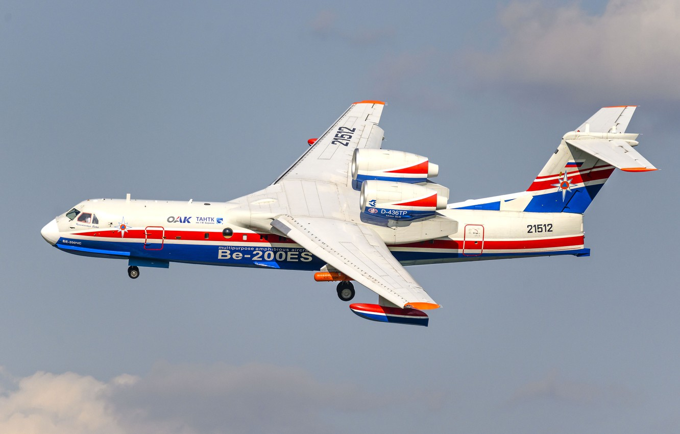 Photo wallpaper EMERCOM of Russia, Be-200CHS, multipurpose amphibious aircraft, Beriev Be-200ES