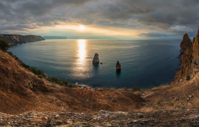 Photo wallpaper sea, sunset, rocks, coast, Russia, Crimea, The black sea, Sevastopol, Cape Fiolent