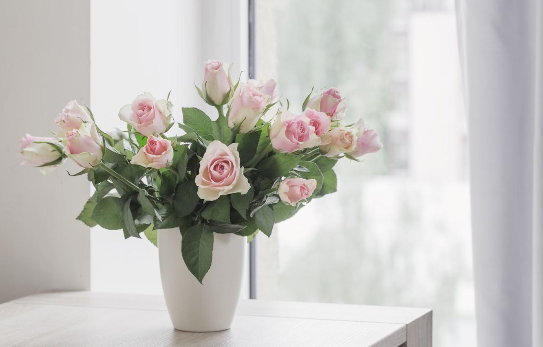 Photo wallpaper table, roses, bouquet, window, gentle, Maya Kruchenkova