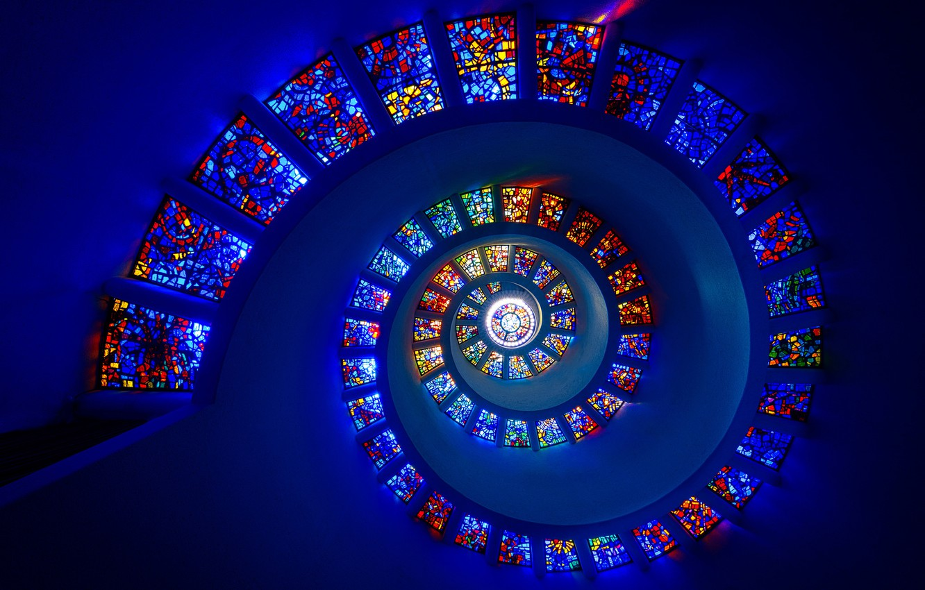 Photo wallpaper spiral, stained glass, spiral, stained glass, Michael Zheng