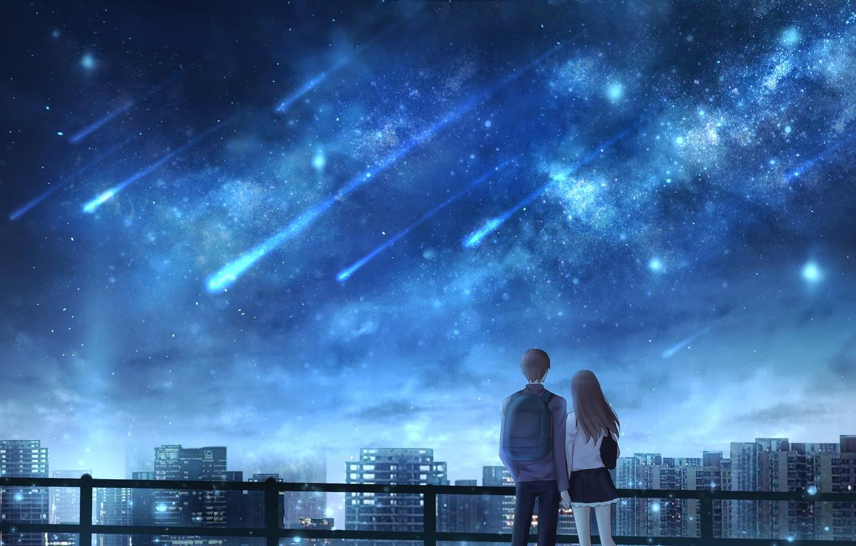 Photo wallpaper girl, night, the city, guy, Starfall, OR