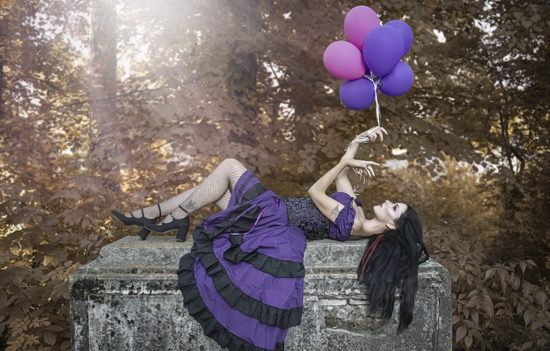 Photo wallpaper girl, background, balls