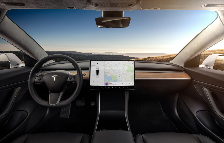 Photo wallpaper interior, Tesla, model 3