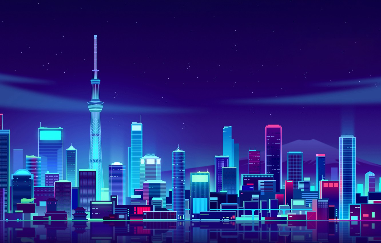 Photo wallpaper Night, Vector, The city, Japan, Style, Tokyo, Building, The building, Landscape, Architecture, Art, Tokyo Skytree, …