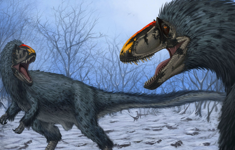 Photo wallpaper Teeth, Two, Art, Grin, Predators, Dinosaurs, Древние животные, Ютираннус, Yutyrannus huali
