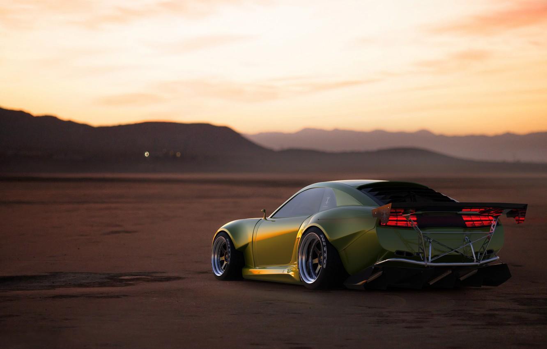 Photo wallpaper Sunset, The evening, Auto, Green, Machine, Pontiac, Firebird, Rendering, Transport & Vehicles, November Tlibekov, by …