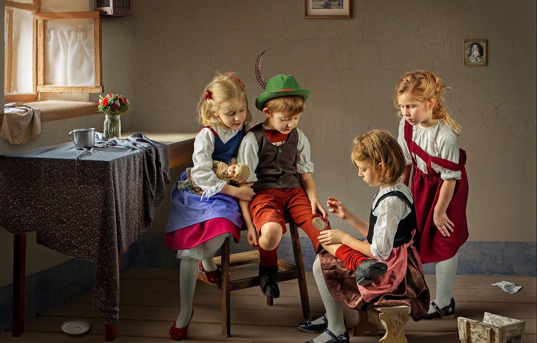 Photo wallpaper children, table, room, girls, boy, window, Dmitry Usanin, the patch