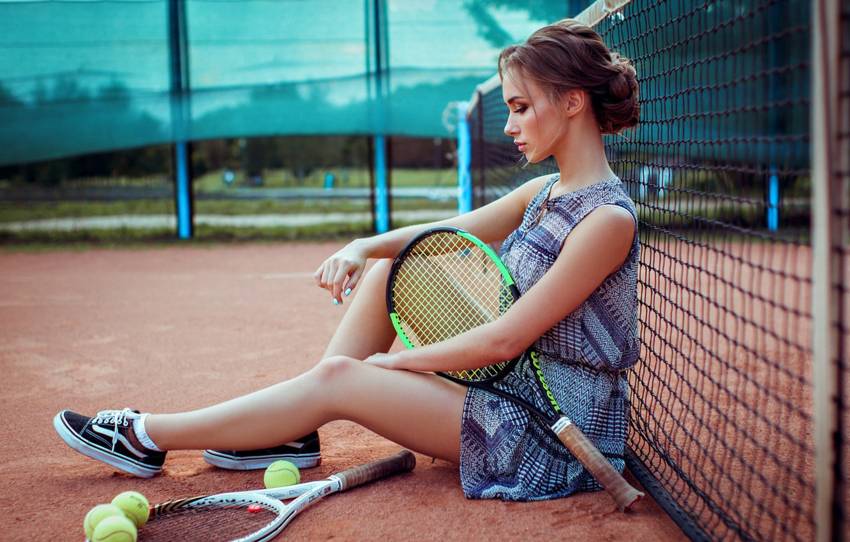 Photo wallpaper girl, racket, tennis, court, Kirill Bukrey, Anna Golub