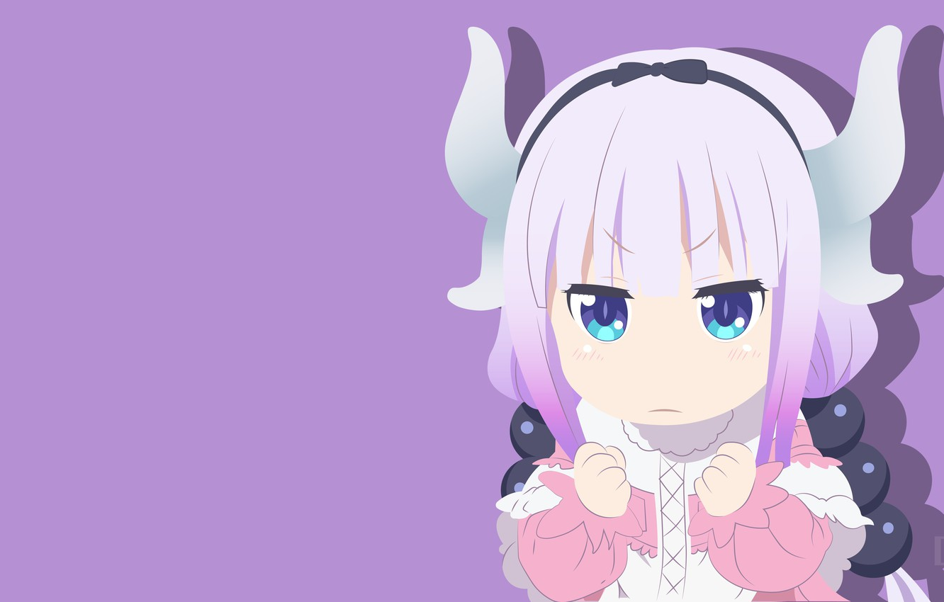 Wallpaper Girl Purple Background Kobayashi San Chi No Maid