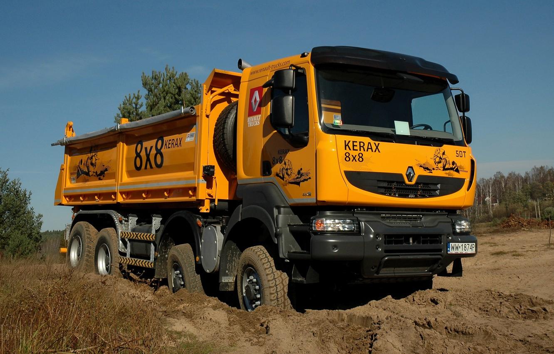 Photo wallpaper orange, earth, truck, Renault, 8x8, dump truck, four-axle, Renault Trucks, Kerax
