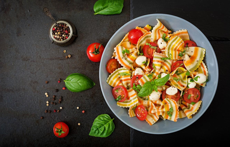 Photo wallpaper background, pepper, salad, pasta, pasta, Basil, tomatoes