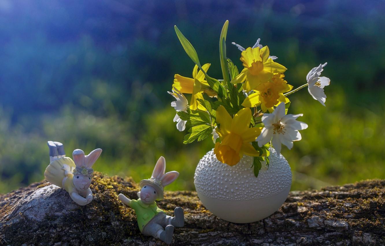 Photo wallpaper flowers, Easter, vase, figures, bunnies