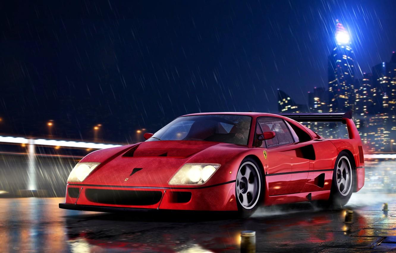 Photo wallpaper Rain, Italy, Supercar, Ferrari F40, A two-door car