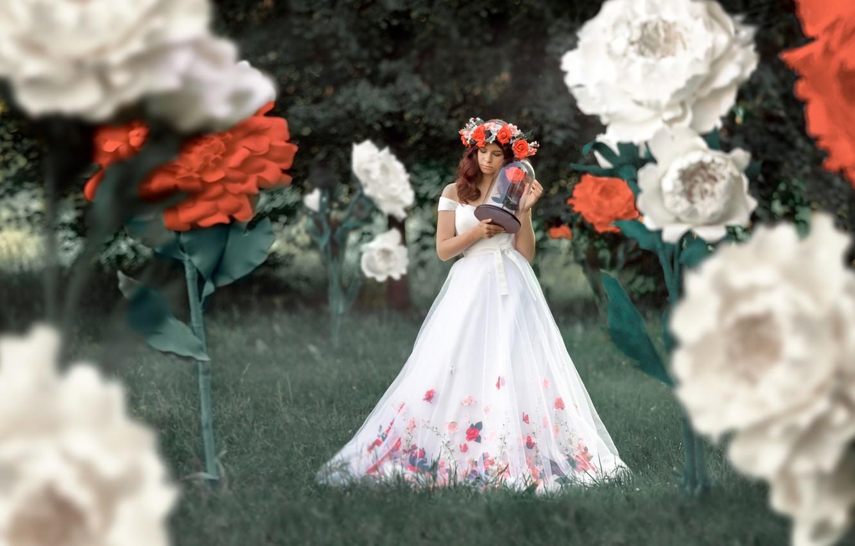 Photo wallpaper girl, flowers, pose, dress, beautiful, wreath, Renat Fotov
