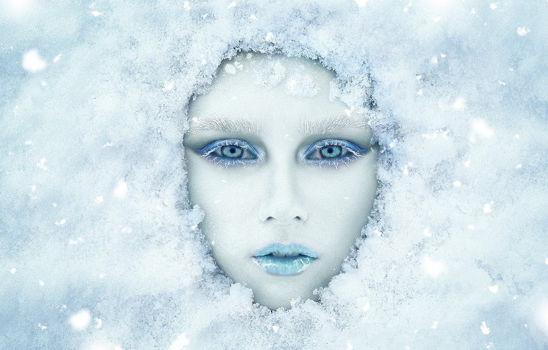 Photo wallpaper winter, look, girl, snow, face, makeup, Renat Fotov, Anastasia Koshina