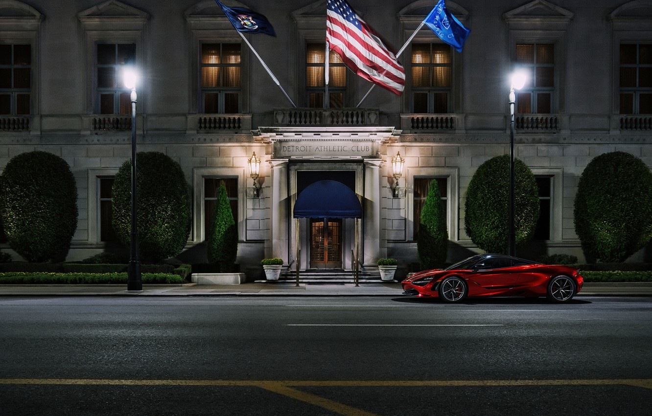 Photo wallpaper Red, Auto, Night, The city, Machine, The building, Supercar, Rendering, Sports car, Red, Transport & …
