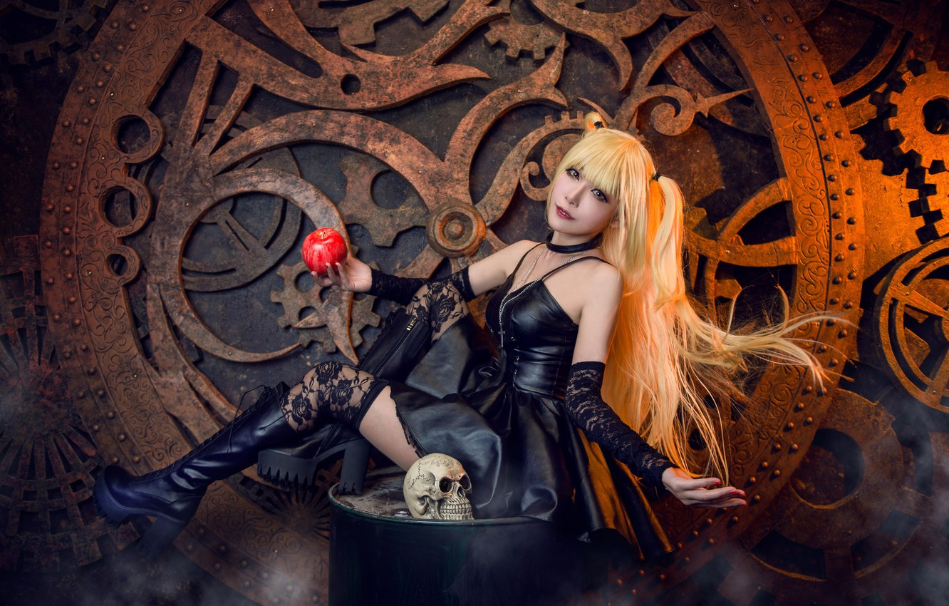 Photo wallpaper look, girl, face, style, black, skull, Apple, boots, makeup, blonde, costume, gear, outfit, image, Asian, …