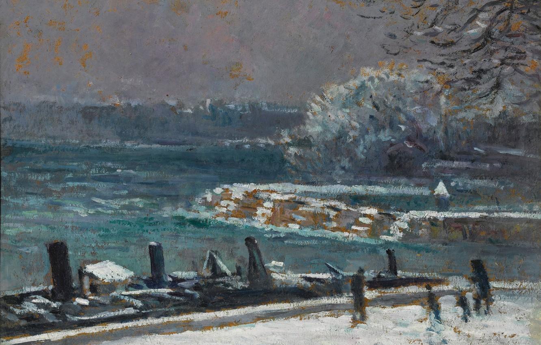 Photo wallpaper picture, the urban landscape, 1913, Maximilien Luce, Maximilien Luce, Gateway. The Pont Des Arts. Winter