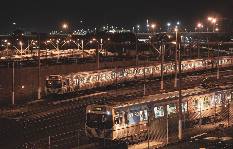 Photo wallpaper night, train station, North Melbourne