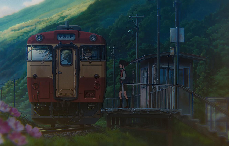 Photo wallpaper station, Japan, the car, schoolgirl, platform, cloudy weather, Kimi no VA On, Miyamizu Mitsuha, Your …