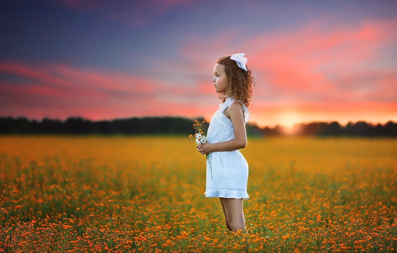 Photo wallpaper field, summer, sunset, nature, girl