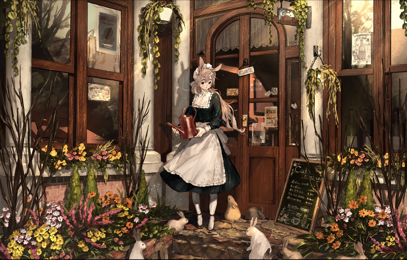 Photo wallpaper house, plants, the door, girl, cafe, lake, the maid, white rabbits, rabbit ears