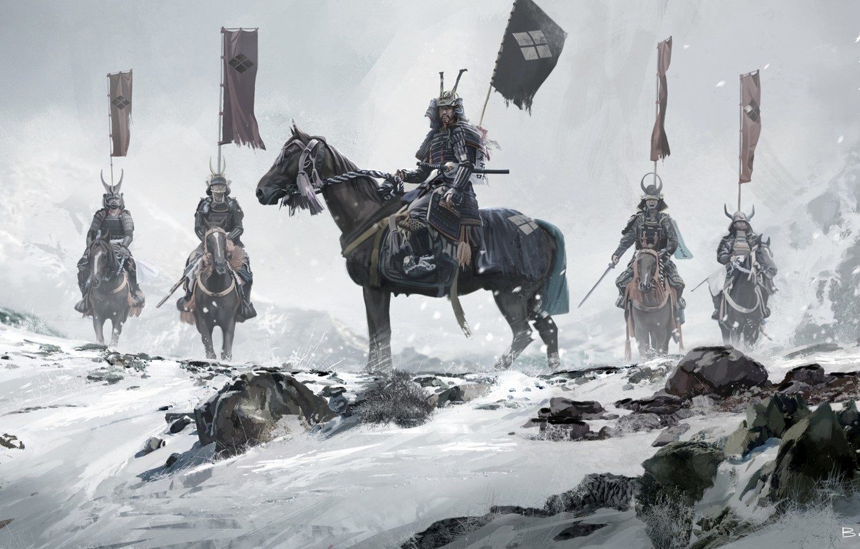 Photo wallpaper winter, snow, Asia, Japan, warriors, riders, banners, samurai, warlords, David Benzal, Asia Legends