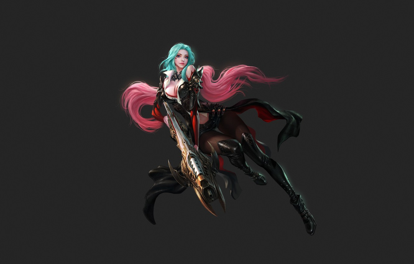 Wallpaper Girl Minimalism Style Girl Background Weapons
