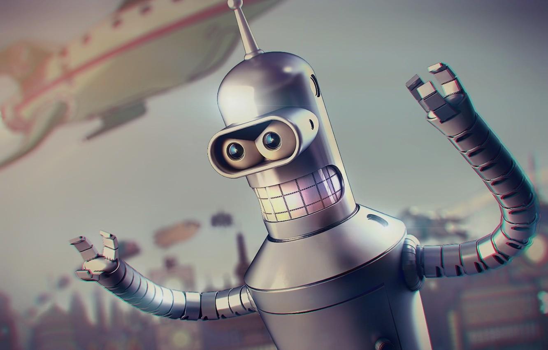 Photo wallpaper Metal, Futurama, Robot, Planet Express, Future, 20th Century Fox, Spaceship, Blur, Buildings, Teeth, Character, Bender …