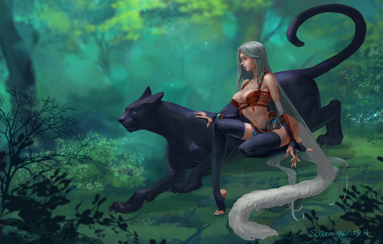 Photo wallpaper forest, girl, Panther, art, Suroo, bigcat and girl