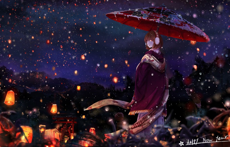 Photo wallpaper winter, snow, night, umbrella, Japan, scarf, girl, Cape, the red lanterns, half a turn, torii …