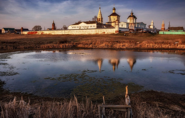 Photo wallpaper water, landscape, sunset, nature, spring, the monastery, Kolomna, Paul Narikov