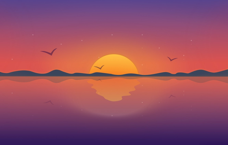 Photo wallpaper sunset, birds, vector, horizon