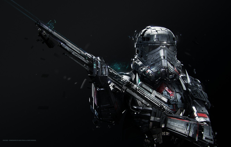 Photo wallpaper Star Wars, fantasy, science fiction, sci-fi, movie, stormtrooper, digital art, film, rifle, artwork, black background, …
