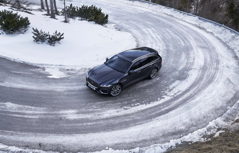 Photo wallpaper winter, road, snow, Jaguar, turn, top, universal, Jaguar XF, 2020, XF, XF Sportbrake