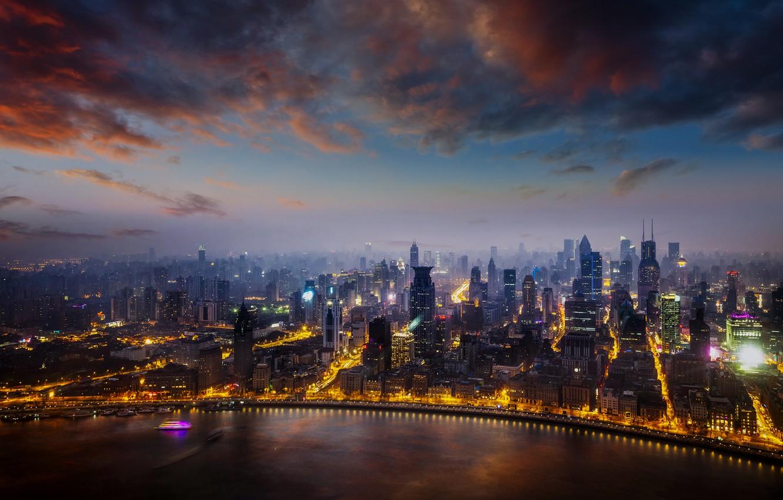 Photo wallpaper city, lights, China, Shanghai, twilight, sky, sea, sunset, night, skyscraper, clouds, buildings, boat, cityscape, mist