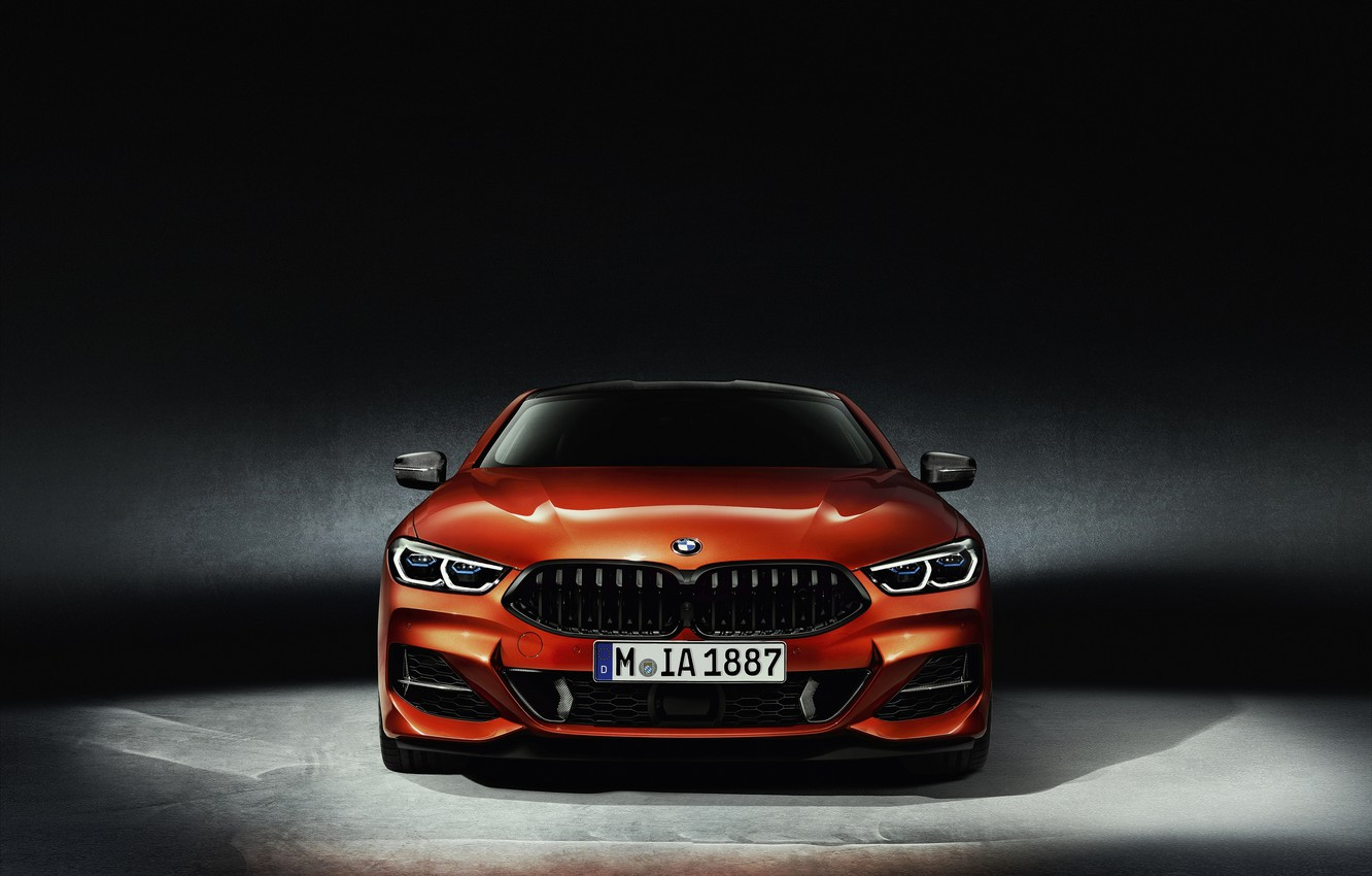 Photo wallpaper orange, background, coupe, BMW, front view, Coupe, 2018, 8-Series, Eight, G15