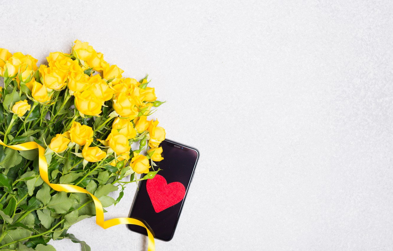 Photo wallpaper roses, bouquet, yellow