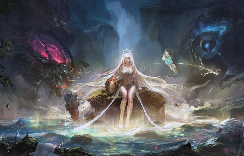 Photo wallpaper girl, rock, fantasy, game, forest, magic, long hair, water, lake, League of Legends, blonde, digital …