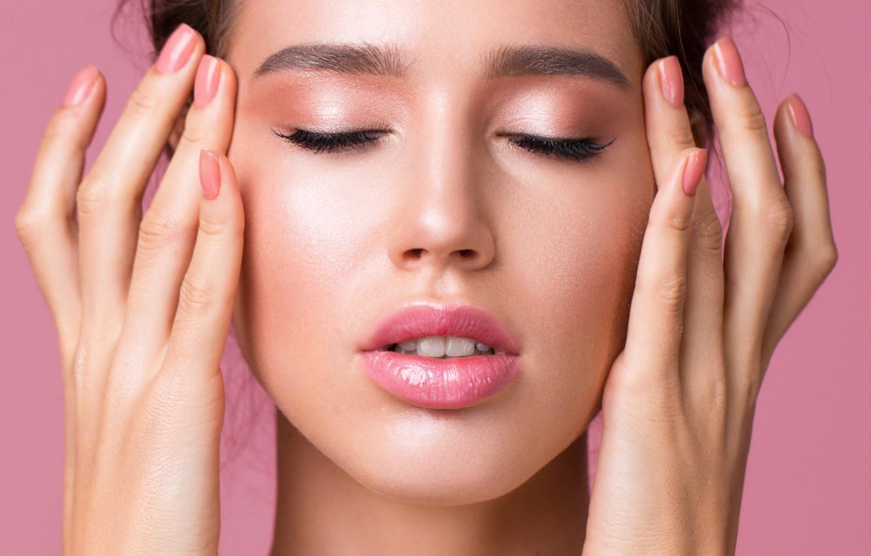 Photo wallpaper model, pretty, lips, make up