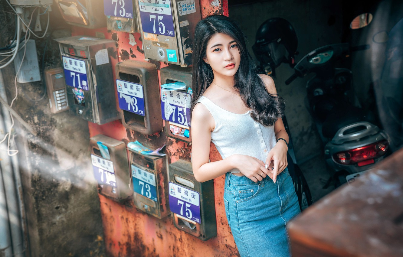 Photo wallpaper look, pose, model, skirt, portrait, makeup, Mike, figure, brunette, hairstyle, Asian, is